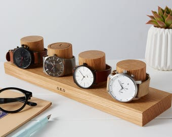 Watch Stand for Four Watches / Personalised Watch Storage / Gift for Him / Watch Holder / Personalized Watch Display / Watch gift for Dads