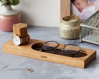 Watch Stand and Glasses Tray / Gifts for Father's Day / Gifts for Grandparents / 5th Wooden Wedding Anniversary / Personalized Stash Tray
