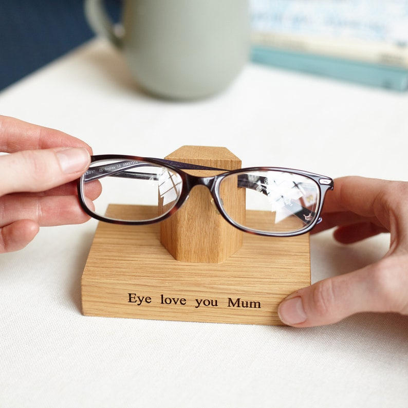 Solid Oak Personalised Eye Glasses Stand For Her / Gifts for image 0