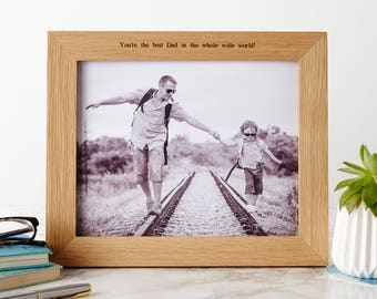 Personalised Oak Photo Picture Frame / Father's Day Frame / Special Picture Frame / Personalized Photo Frame