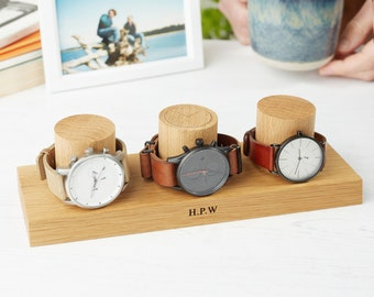 Watch Stand for Three Watches / Personalised Watch Storage / Gift for Dad / Watch Holder / Gifts for Him / Watch Display Stand / 5th Wedding