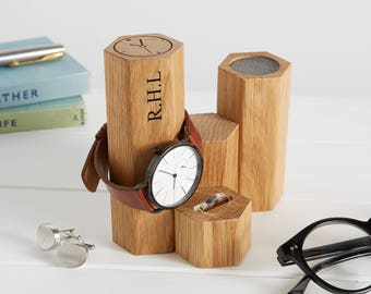 Personalised Oak Hex Jewellery and Watch Stand / Gift For Him / Father's Day Gift / Watch Display Stand