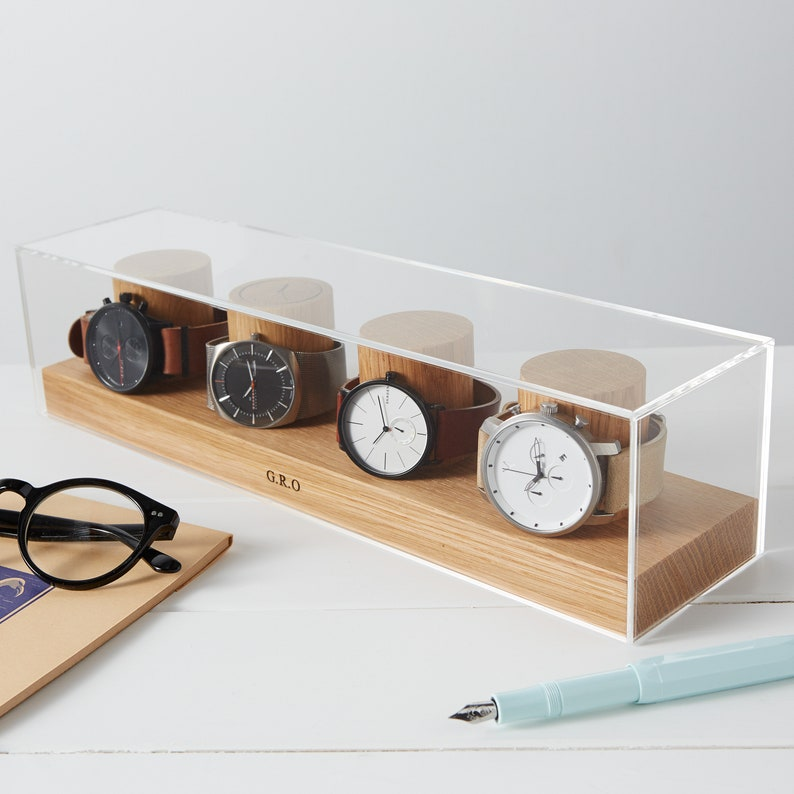 Watch Box for Four Watches / Personalised Watch Storage / Gift image 0