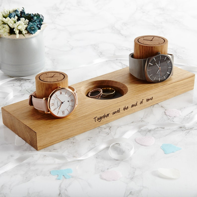 Personalised Couples Watch Stand With Ring Dish / Ring Tray / Front Only