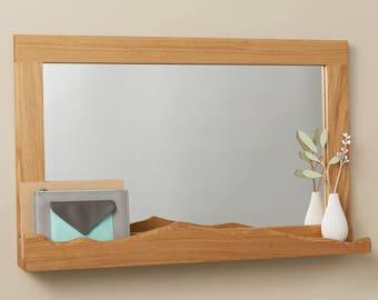 Oak Mountain Mirror with Shelf / Hallway Mirror / Mirror with Shelf / Entrance way Mirror / Statement Mirror / Oak Mirror