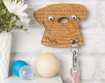 Personalised Pug Dog Lead Holder / Pug Gifts / Leash Hook / Pet Lover / Dog Lover