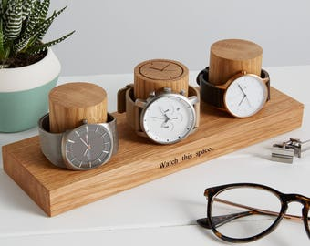 Three Column Watch Stand / Personalised Watch Storage / Gift for Dad / Father's day Gift / Gifts for Him / Watch Display Stand
