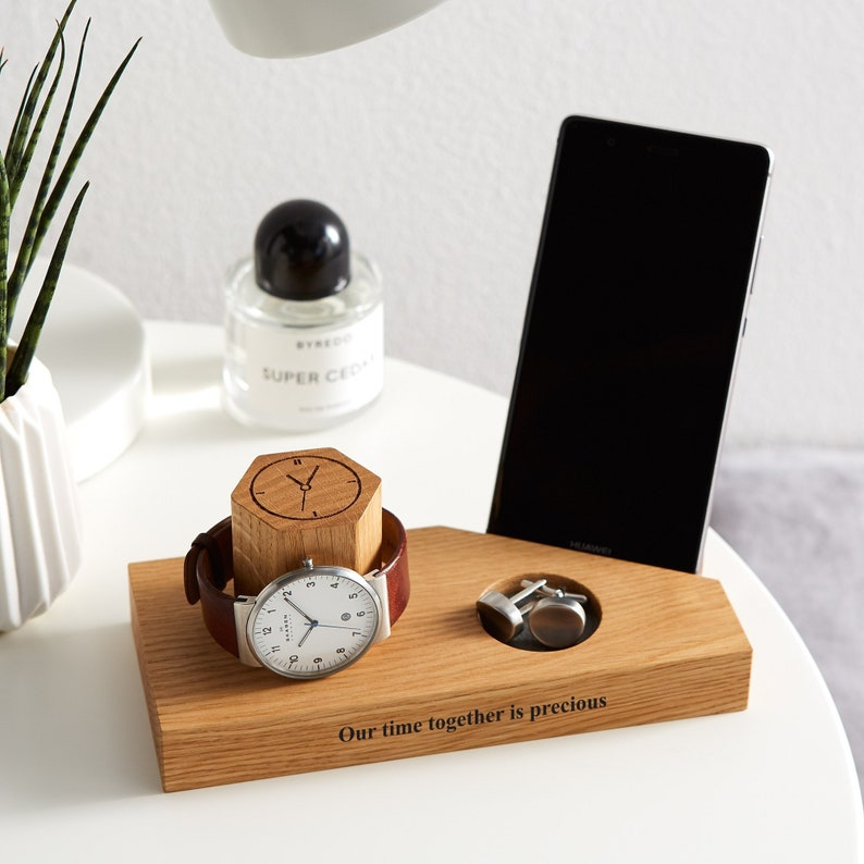 Personalised Oak Bedside Watch And Phone Stand / Tech Gifts / Front only