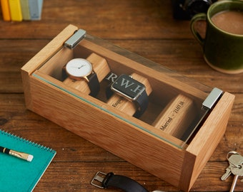 Oak Watch Box for 3 Watches with Personalised Engraved Glass. Men's Watch Box / Case, Personalized Gift, Custom Watch Box - Glass