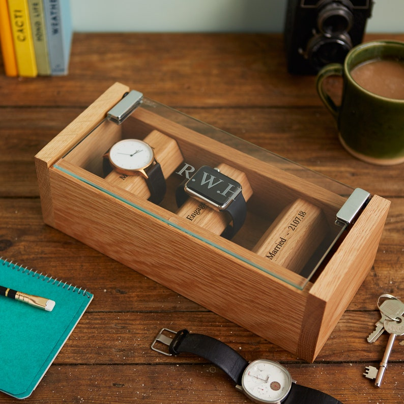 Oak Watch Box for 3 Watches with Personalised Engraved Glass image 0