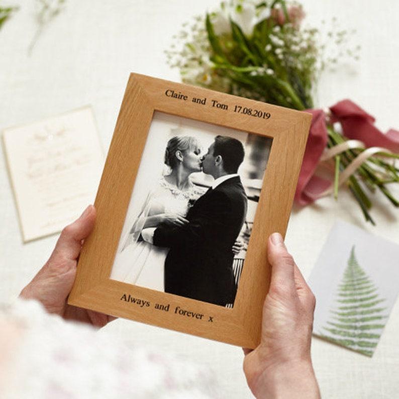Personalised Oak Photo Picture Frame / Wedding Day Photo Frame image 0