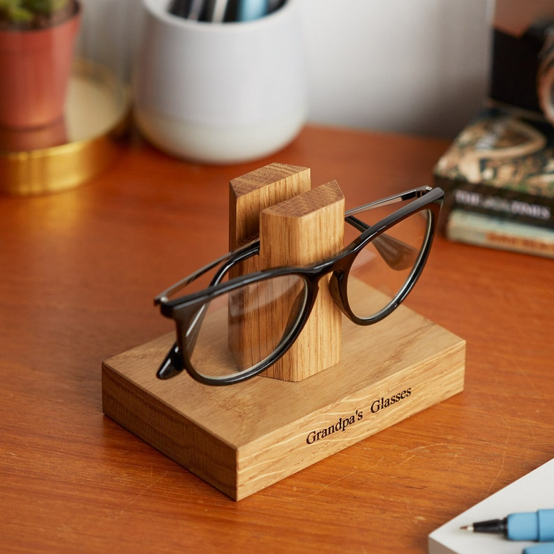 Solid Oak Personalised Glasses Stand / Gifts For Grandparents Front Only