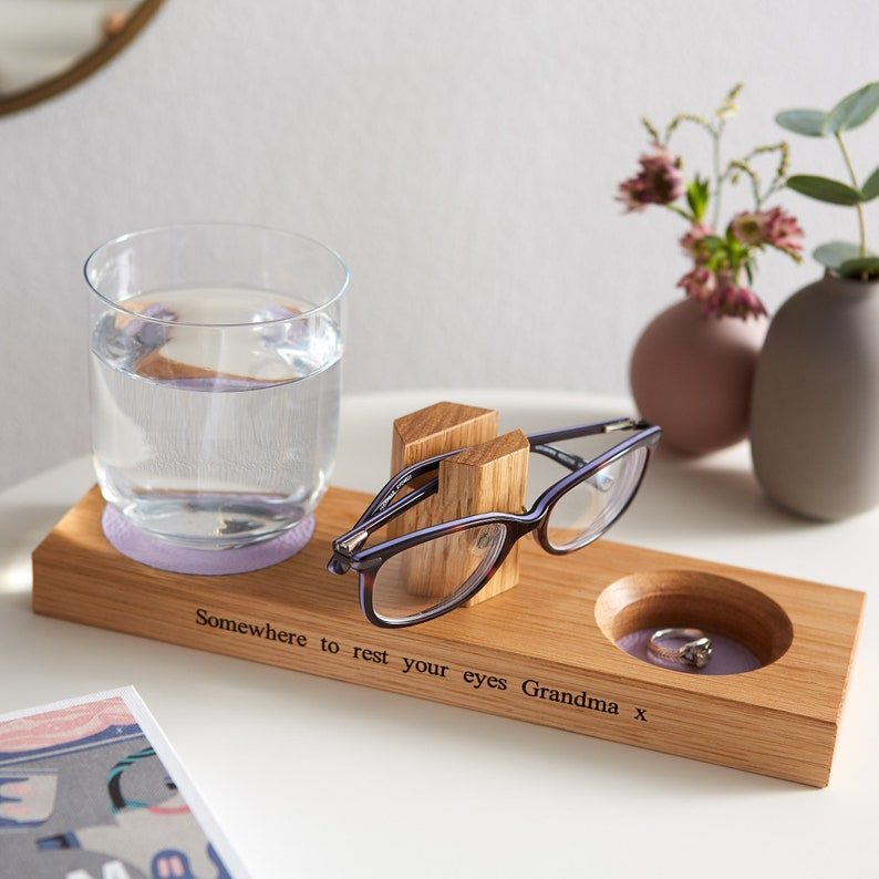 Bedside Glasses Stand with Coaster and Storage Dish / Gifts image 0