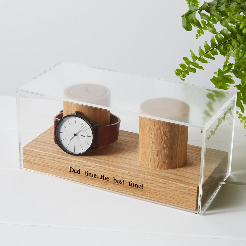 Watch Box for Two Watches / Personalised Watch Display / Gifts image 0