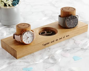 Couples Watch Stand With Ring Dish / Personalised Option / Anniversary Gift / Personalized Wedding Gift / Mr and Mrs Gift