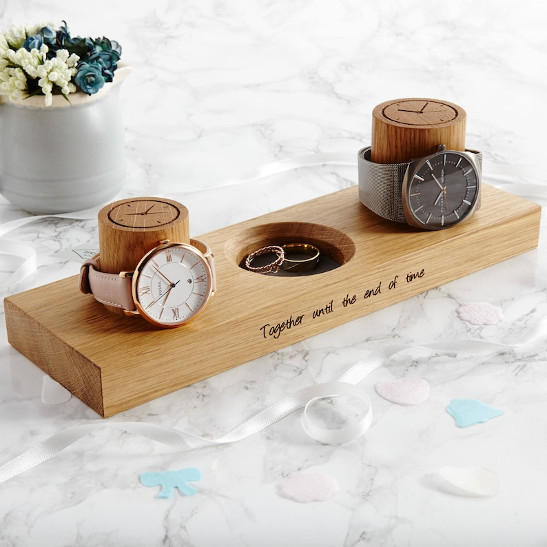 Couples Watch Stand With Ring Dish / Personalised Option / image 0