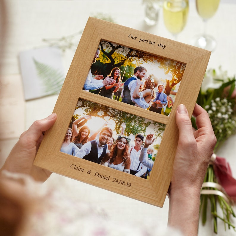 Oak Double Aperture 6x4 Personalised Photo Frame / image 0