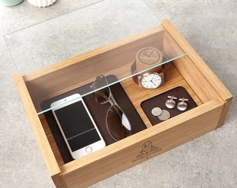 Personalised Gents Jewellery And Watch Box / Men's Organiser / Gifts for Dad / Father's Day Gifts / Birthday Gift / Gift for Him