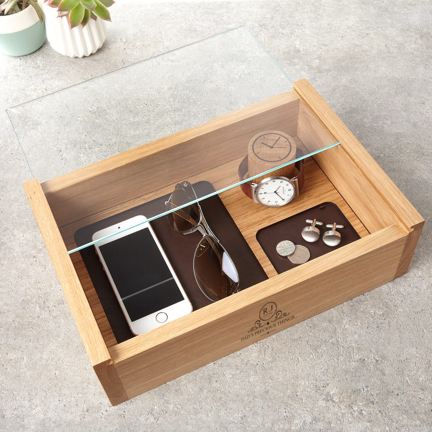 Personalised Gents Jewellery And Watch Box Mens
