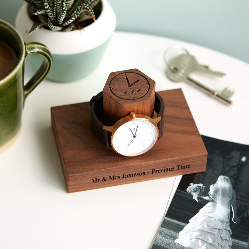 Personalised Date and Time Wedding Watch Stand / Gift For Him Walnut