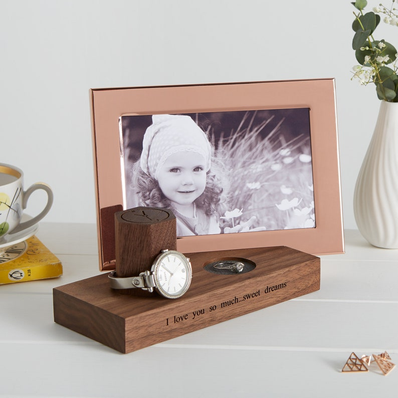 Personalised Bedside Watch And Ring Stand with Photo Frame / image 0