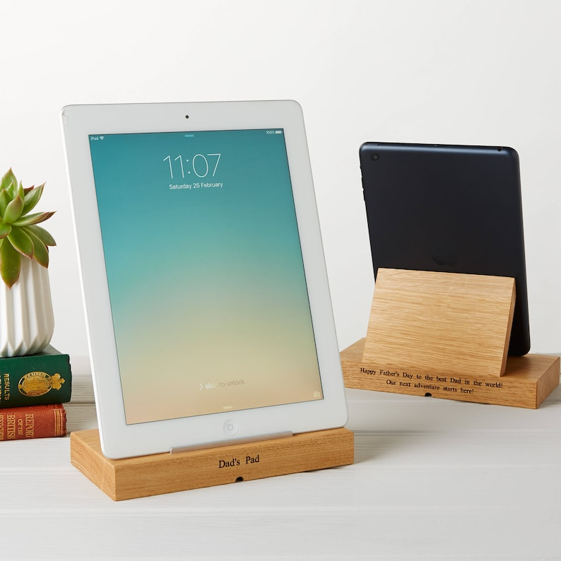 Personalised Oak Tablet iPad Stand Tech Gifts Gifts for image 0