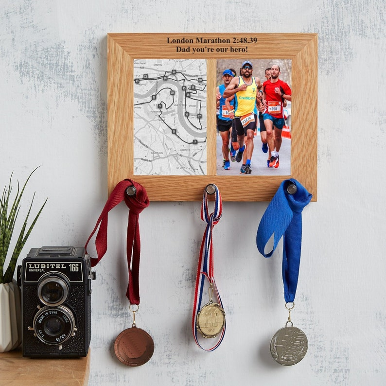 Personalised Oak Photo Frame And Medal Hanger / Gift For 2 Aperture (3 pegs)