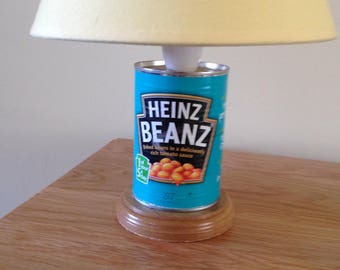 Heinz baked bean can upcycled into table lamp