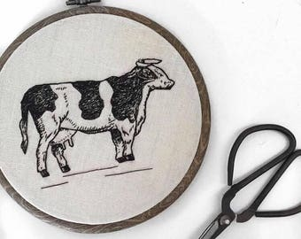 """5"""" Cow Embroidery Hoop"""