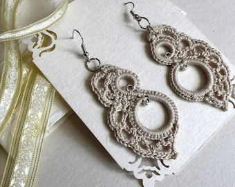 Ivory Crochet Earrings, Angel Wings Lace Filigree, Gift for Her, FREE SHIPPING