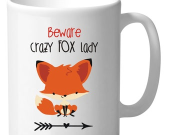 Beware Crazy Fox Lady Mug, Fox Mug, Animal Lover Birthday Christmas Gift, Gift for Her, Gift for Woman, Cute Funny Tea Coffee Mug