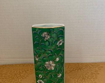 Porcelain Vtg Teal Florals Floral Imari Design Hand Decorated Trinket Box Red TAKAHASHI Etude 4 Octagon Shaped 1986 San Francisco