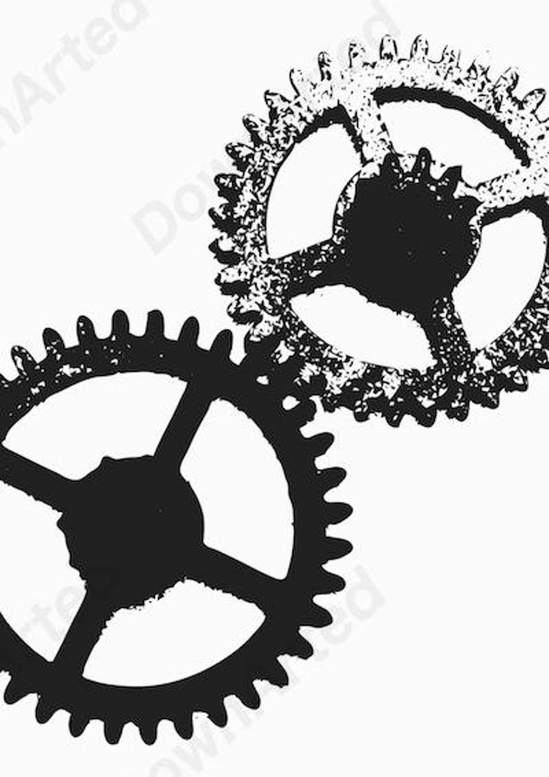 graphic about Gears Printable named Steampunk Gears Minimalist Artwork, Electronic Obtain, Printable Progressive Wall Artwork. Summary Property Decor. Black and White.