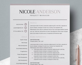 Professional Resume Bundle Instant Download Bold Design Template CV Templates Writing Services
