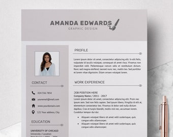 Modern Resume Template - Professional Resume Template Word - Resume Design Template - Free Resume Template - Resume Instant Download