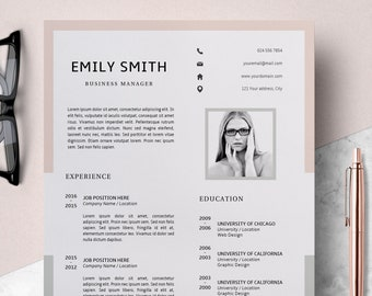 Modern Resume Template | CV Template + Cover Letter | Creative Resume Ideas | Resume Minimalist | Resume Instant Download | Easy Resume