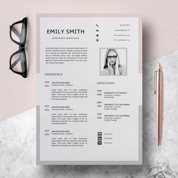 Modern Resume Template Cv Template Cover Letter Creative Etsy