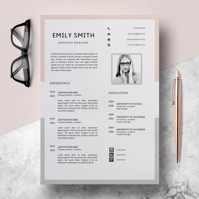 Modern Resume Template CV Cover Letter Creative