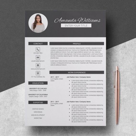 Modern Resume Template Pages | CV Template for Word | 3 Pages Resume  Template + Cover Letter (US Letter and A4) | Instant Download Resume