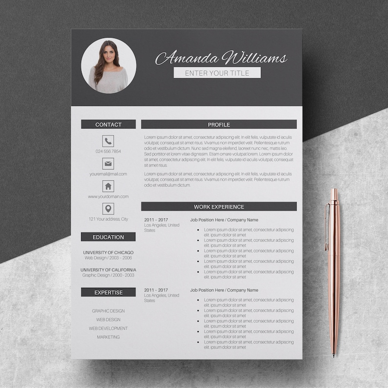 Modern Resume Template Pages CV Template for Word 3 Pages | Etsy