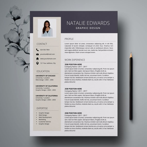 creative resume template cv template for ms word and pages etsy