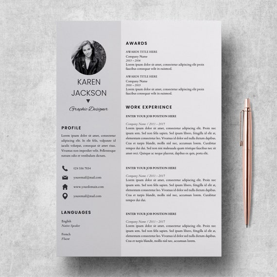 Modern Resume Template for Pages | CV Template for Microsoft Word + Cover  Letter | Professional, Creative Resume Design | Printable Resume