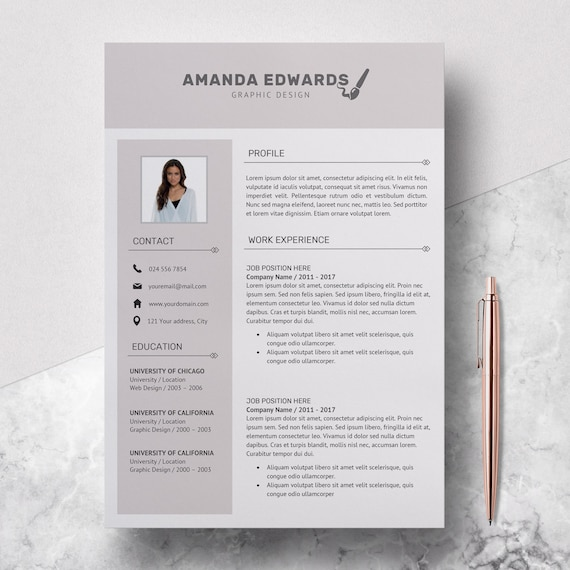 Modern Resume Template Professional Resume Template Word Resume Design Template Free Resume Template Resume Instant Download