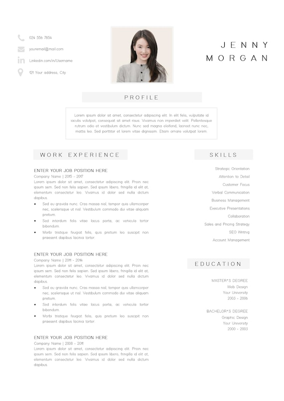 Simple Cv Template Word Resume With Photo Template Resume Minimalist Creative Resume Design Free Resume Template Resume Pages