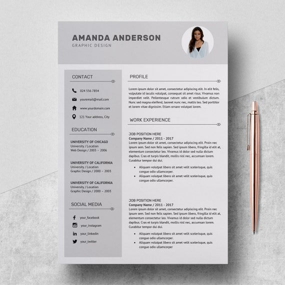 Resume Template | Professional CV Template + Cover Letter | Creative Resume  | Resume Design Service | Professional Resume | Instant Download