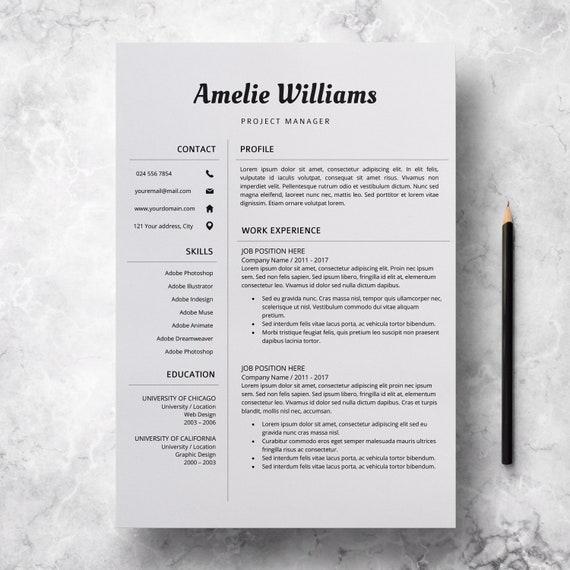 Modern Resume Template Professional Cv Design Cv Template Etsy
