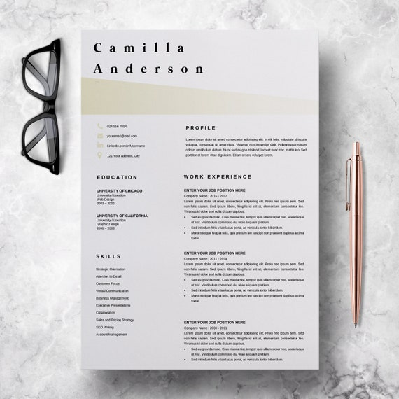 resume template microsoft word professional cv layout etsy