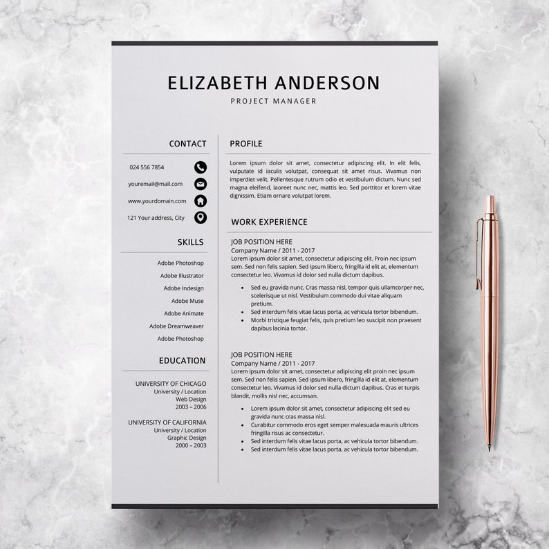 Professional Resume Template Creative CV Templates