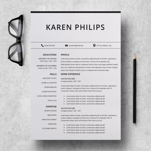 resume template instant download in pages standard cv format etsy