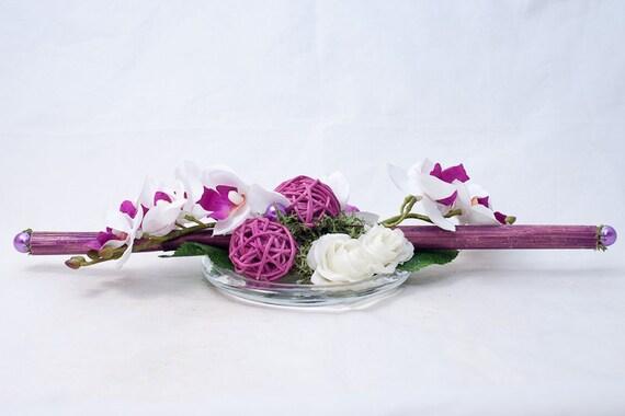 Langliches Tischgesteck Mit Lila Pink Weissen Orchideen Und Etsy